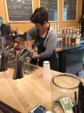Barista making a vanilla latte